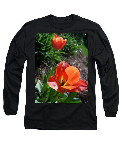 Long Sleeve T-Shirt featuring the photograph Tulips Wearing Orange by Sandi OReilly