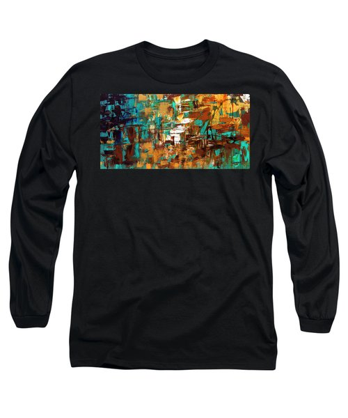 Long Sleeve T-Shirt featuring the painting Turquoise Scent by Carmen Guedez