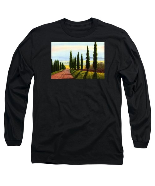 Long Sleeve T-Shirt featuring the painting Tuscany Cypress Trees by Janet King