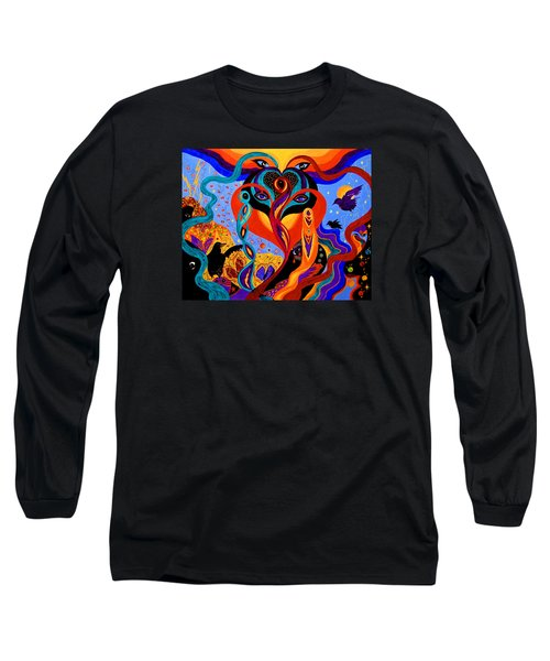 Long Sleeve T-Shirt featuring the painting Karmic Lovers by Marina Petro