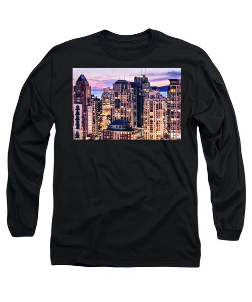 Twilight Over English Bay Vancouver Long Sleeve T-Shirt by Amyn Nasser
