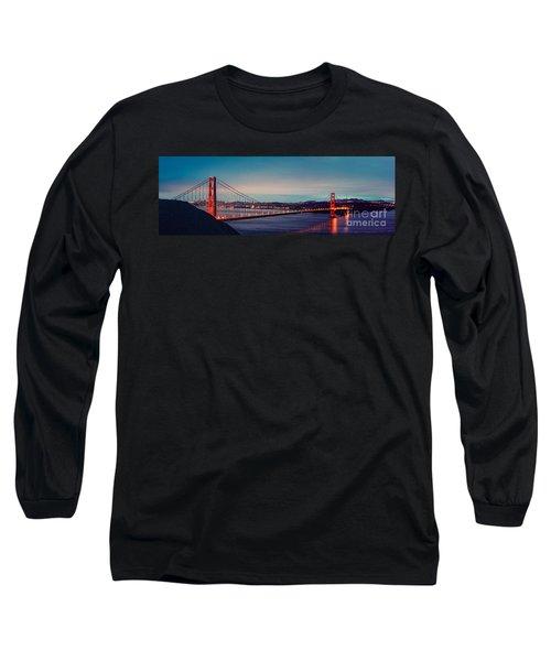 Twilight Panorama Of The Golden Gate Bridge From The Marin Headlands - San Francisco California Long Sleeve T-Shirt