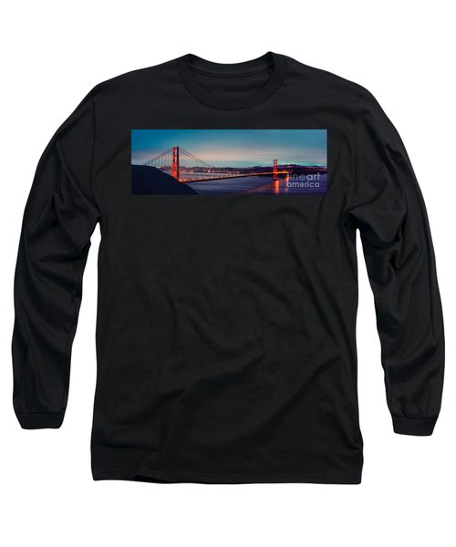 Twilight Panorama Of The Golden Gate Bridge From The Marin Headlands - San Francisco California Long Sleeve T-Shirt