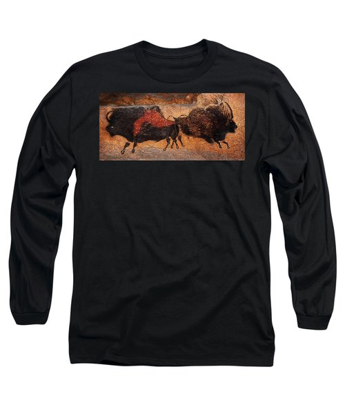 Two Bisons Running Long Sleeve T-Shirt