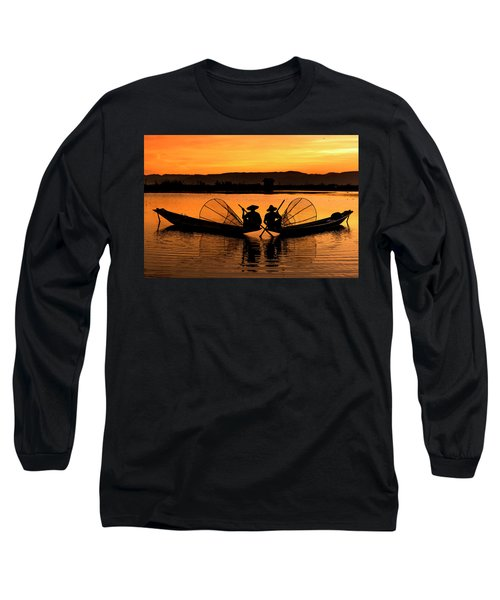 Two Fisherman At Sunset Long Sleeve T-Shirt