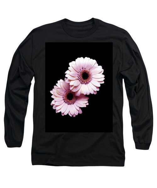 Two Gerberas On Black Long Sleeve T-Shirt