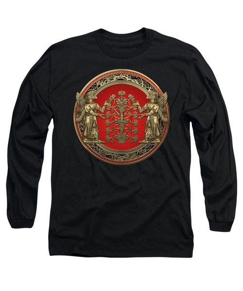 Two Instances Of Gold God Ninurta With Tree Of Life Black Velvet Long Sleeve T-Shirt
