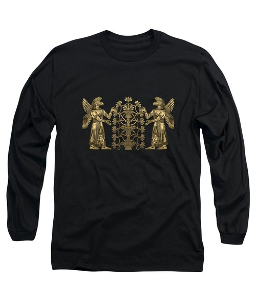 Two Instances Of Gold God Ninurta With Tree Of Life Over Black Canvas Long Sleeve T-Shirt