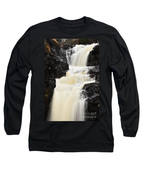 Long Sleeve T-Shirt featuring the photograph Two Island River Waterfall by Larry Ricker
