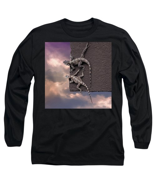 Two Lizards On The Edge Of The Roof Long Sleeve T-Shirt