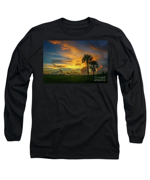 Two Palm Silhouette Sunrise Long Sleeve T-Shirt