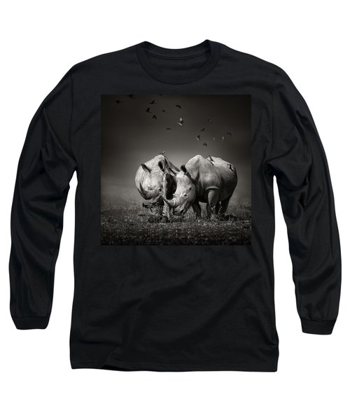 Two Rhinoceros With Birds In Bw Long Sleeve T-Shirt