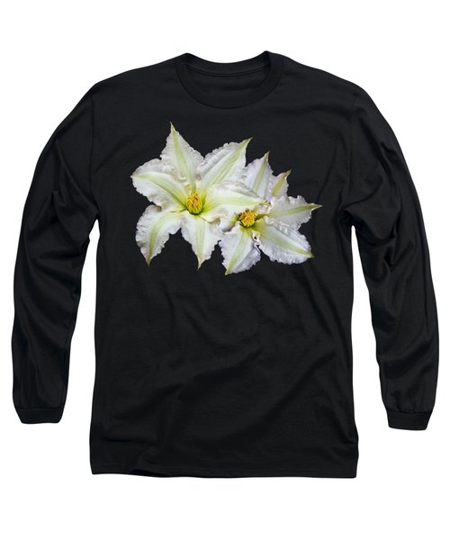 Two White Clematis Flowers On Black Long Sleeve T-Shirt
