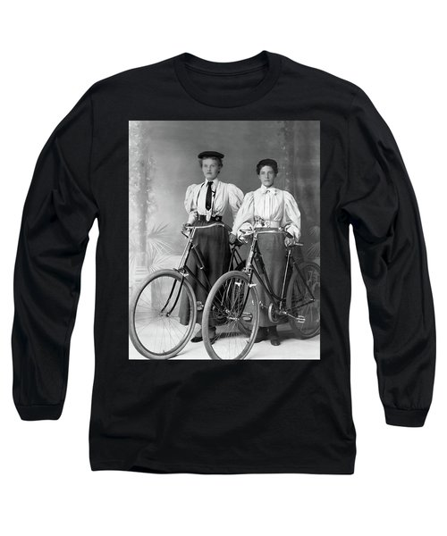 Two Young Ladies With Their Bicycles Circa 1895 Long Sleeve T-Shirt