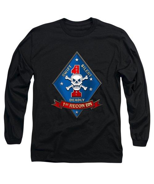 U S M C  1st Reconnaissance Battalion -  1st Recon Bn Insignia Over Black Velvet Long Sleeve T-Shirt
