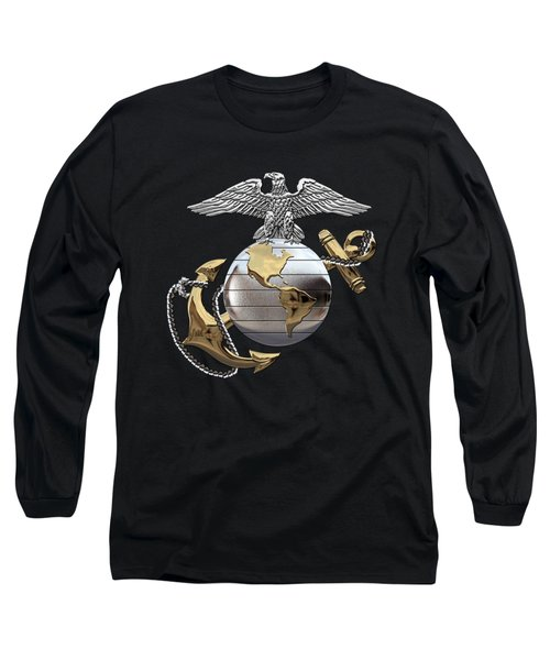 U S M C Eagle Globe And Anchor - C O And Warrant Officer E G A Over Black Velvet Long Sleeve T-Shirt