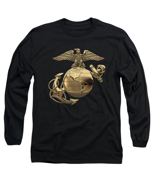 U S M C Eagle Globe And Anchor - N C O And Enlisted E G A Over Black Velvet Long Sleeve T-Shirt