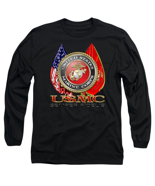 U. S. Marine Corps U S M C Emblem On Black Long Sleeve T-Shirt by Serge Averbukh