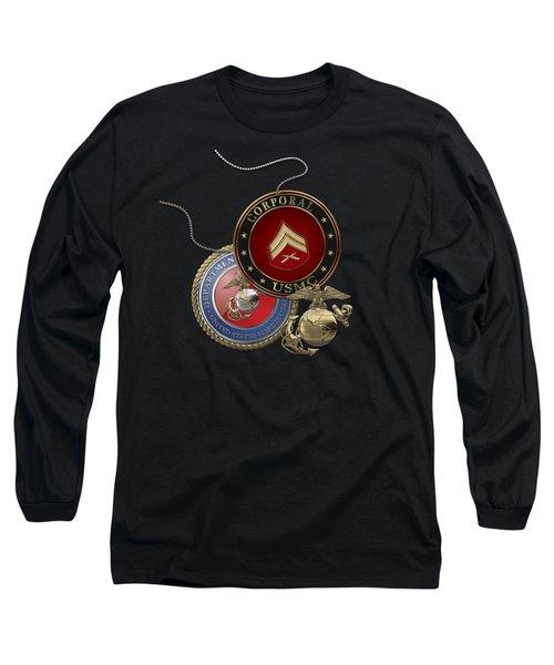 U. S.  Marines Corporal Rank Insignia Over Black Velvet Long Sleeve T-Shirt