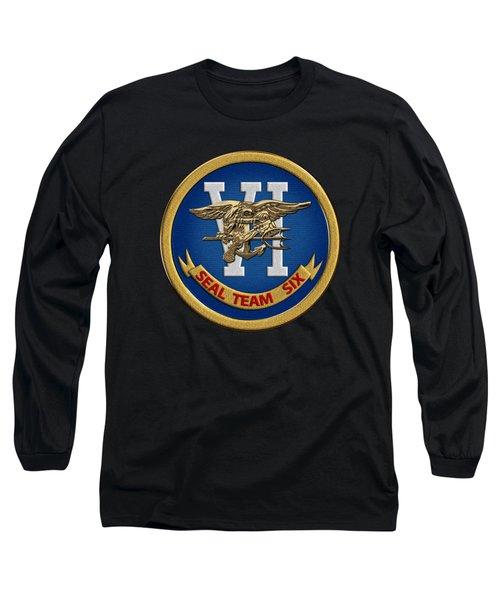 U. S. Navy S E A Ls - S E A L Team Six  -  S T 6  Patch Over Black Velvet Long Sleeve T-Shirt