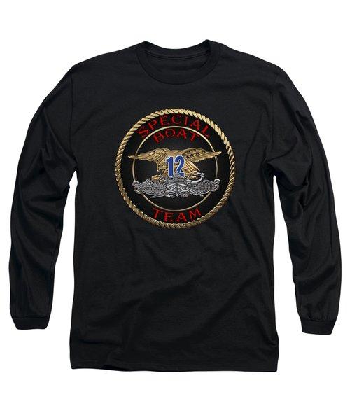 U. S. Navy S W C C - Special Boat Team 12   -  S B T 12  Patch Over Black Velvet Long Sleeve T-Shirt by Serge Averbukh