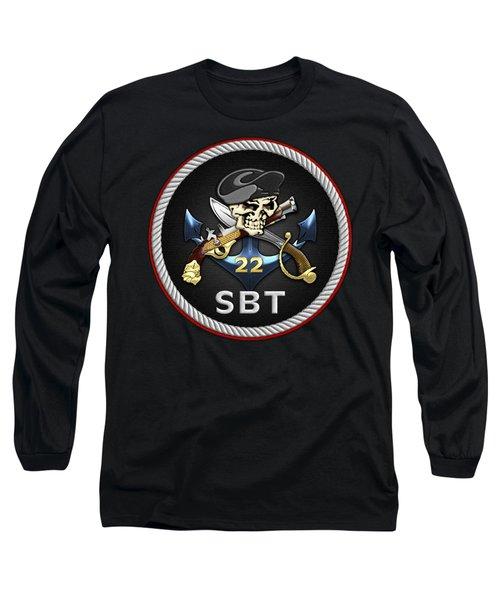 U. S. Navy S W C C - Special Boat Team 22  -  S B T 22  Patch Over Black Velvet Long Sleeve T-Shirt by Serge Averbukh