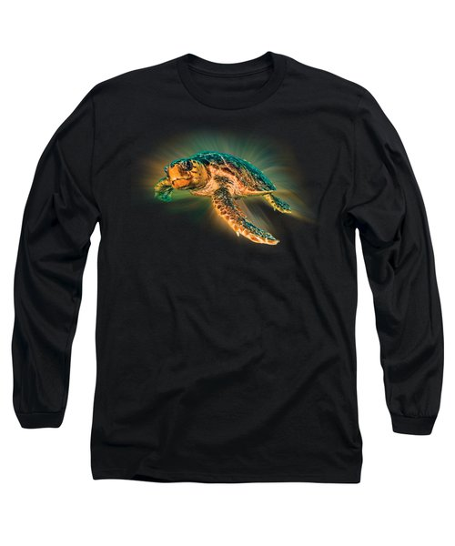 Undersea Turtle Long Sleeve T-Shirt by Debra and Dave Vanderlaan