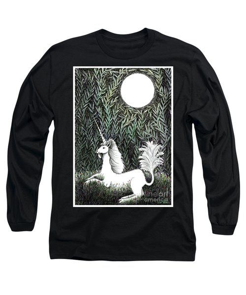 Long Sleeve T-Shirt featuring the drawing Unicorn In Moonlight by Lise Winne