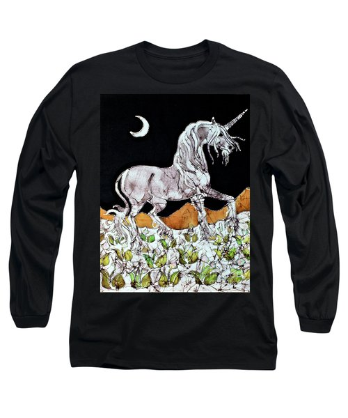 Unicorn Over Flower Field Long Sleeve T-Shirt
