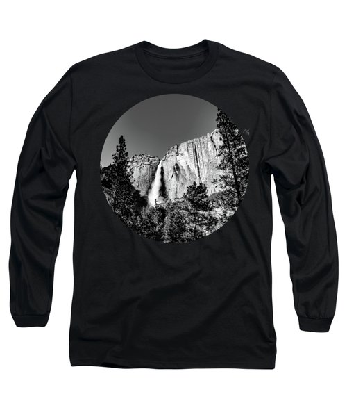 Upper Falls, Black And White Long Sleeve T-Shirt