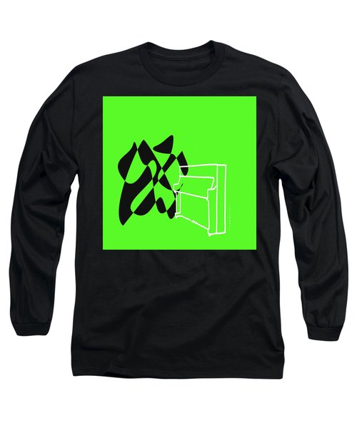 Long Sleeve T-Shirt featuring the digital art Upright Piano In Green by Jazz DaBri