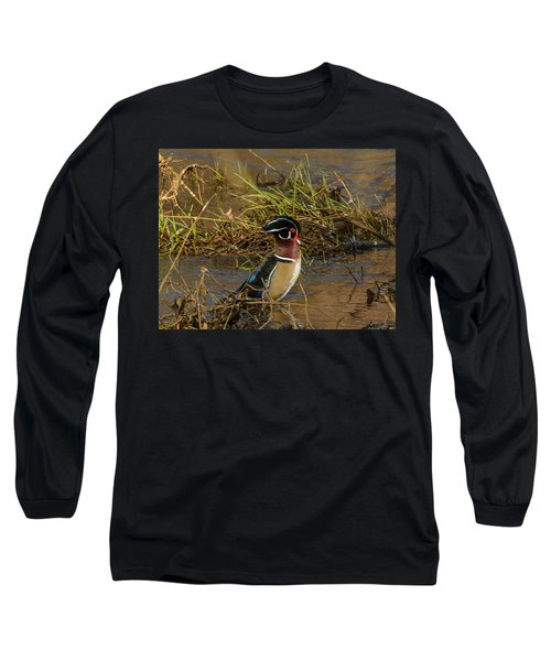 Upright Wood Duck Long Sleeve T-Shirt by Jerry Cahill