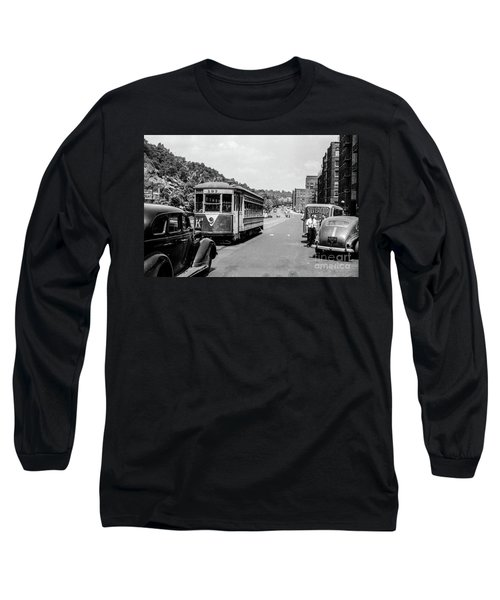 Long Sleeve T-Shirt featuring the photograph Uptown Trolley Near 193rd Street by Cole Thompson