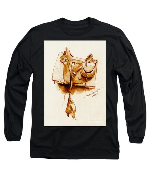 Us Cavalry Saddle 1869 Long Sleeve T-Shirt by Padre Art