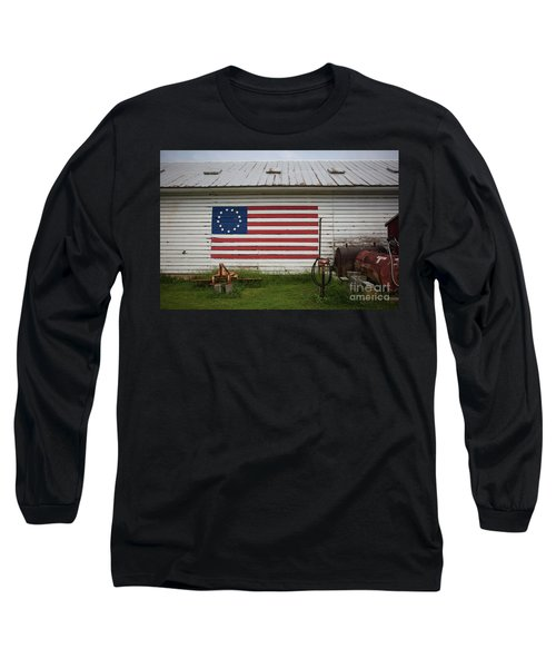 Us Flag Barn Long Sleeve T-Shirt