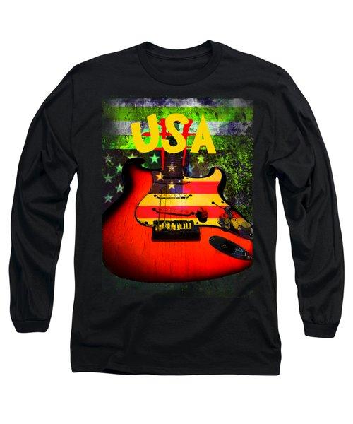 Long Sleeve T-Shirt featuring the digital art Usa Guitar Music by Guitar Wacky