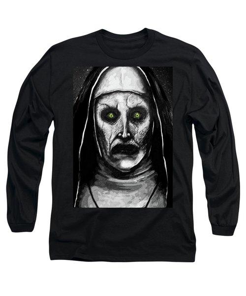 Long Sleeve T-Shirt featuring the digital art Valak The Demon Nun by Taylan Apukovska