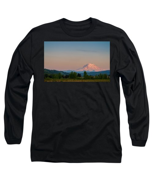 Valley Sunset Of Mt Rainier Long Sleeve T-Shirt by Ken Stanback