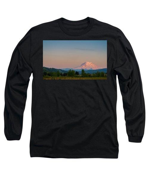 Valley Sunset Of Mt Rainier Long Sleeve T-Shirt