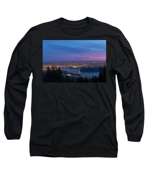 Vancouver Bc Cityscape Lions Gate Bridge Sunset Long Sleeve T-Shirt