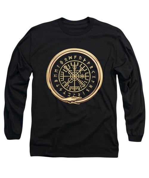 Vegvisir - A Magic Icelandic Viking Runic Compass - Gold On Black Long Sleeve T-Shirt