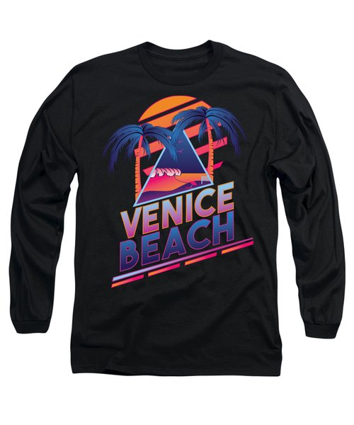 Venice Beach 80's Style Long Sleeve T-Shirt by Alek Cummings