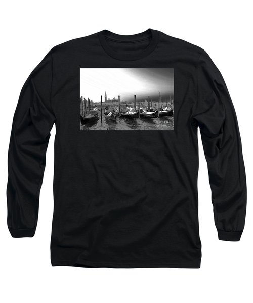 Venice Gondolas Black And White Long Sleeve T-Shirt by Rebecca Margraf