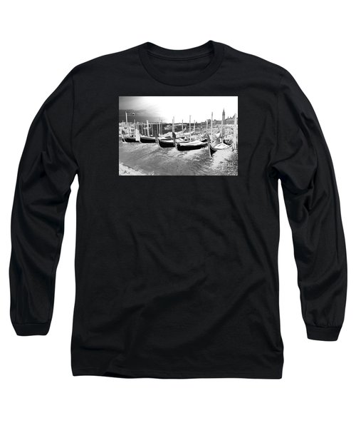 Venice Gondolas Silver Long Sleeve T-Shirt by Rebecca Margraf