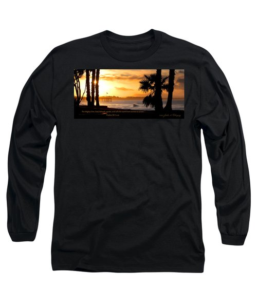 Long Sleeve T-Shirt featuring the photograph Ventura California Sunrise With Bible Verse by John A Rodriguez