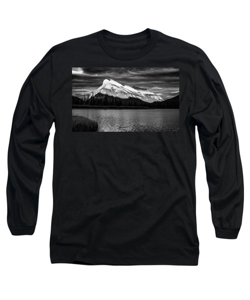 Vermillion Lakes And Mt Rundle Bw Long Sleeve T-Shirt