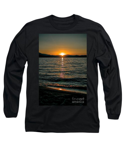 Vertical Sunset Lake Long Sleeve T-Shirt