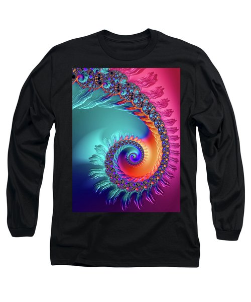 Vibrant And Colorful Fractal Spiral  Long Sleeve T-Shirt