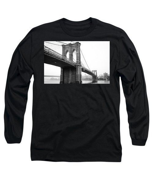 View Brooklyn Bridge With Foggy City In The Background Long Sleeve T-Shirt
