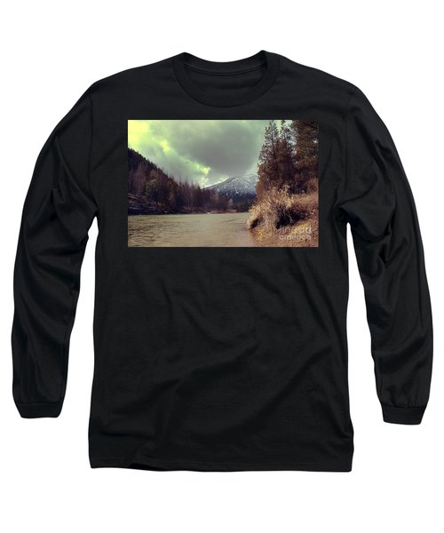 View On The Blackfoot River Long Sleeve T-Shirt by Janie Johnson